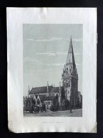 Cassell's Old and New London C1878 Print. Kensignton Church